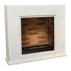 Nero Faux Brick Fireplace With Burner, Polished White Stone, Without Medallion
