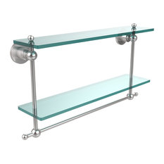 "Astor Place Collection 22"" Two Tiered Glass Shelf With Integrated Towel Bar"