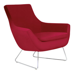 Rebecca Wire Chair, Chrome Plated Steel Tubes Base, Red Leatherette