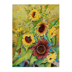 """Joanne Porter 'Sunflowers And Goldenrods' Canvas Art, 32""""x24"""""""
