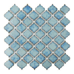 "12.38""x12.5"" Antaeus Porcelain Mosaic Floor/Wall Tile, Ocean"