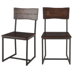 "World Interiors - Dark Walnut Wood and Iron Dining Chair, Set of 2 - The Glenwood collection highlights the beauty of solid Acacia wood and cast iron for your mid-century modern dining and living room.   The faux live-edge backrest with butterfly joinery and oversized square Acacia wood seat add an organic element to your dining space.  The square iron tubing contrasts with the dark walnut finish on the Acacia wood for a modern touch. The combination of both finish and texture create a casual furniture collection for your dining room or eat-in kitchen.  Measures 18"" wide, 17"" deep and 34"" high with an 18"" seat height."