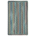 """Capel Rugs - St. Johnsbury Vertical Stripe Braided Rectangle Rug, Medium Blue, 7'6""""x7'6"""" - Reversible and durable, Capel braids are a hallmark of American tradition. Features: Construction: Braided Country of Origin: USASpecifications: Pile Height: 3/8"""" - 1/2"""""""