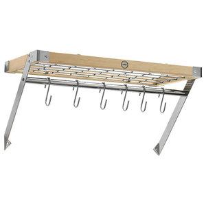 Hahn Classic Rectangular Wood and Chrome Wall Rack