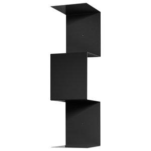Segmento Iron Bookcase, Black, 2 Open Compartments, Small