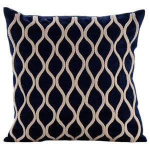 Blue Cotton Linen 30x30 Jute Lattice Trellis Throw Cushions Cover, Jute Chorus