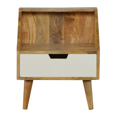 1-Drawer White Hand Painted Bedside with Raised Back, Oak Finish
