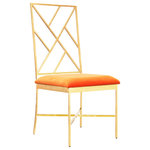 Worlds Away - Fretwork Back Gold Leaf Chair With Orange Velvet Cushion - Fretwork back gold leaf chair with orange velvet cushion