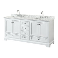 Double Vanity, Top, Undermount Square Sinks, No Mirror, White, 72""