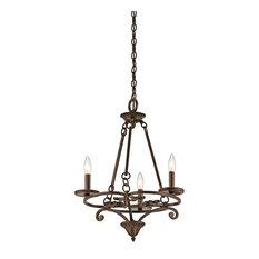 Kichler Caldella Mini Chandelier 3-Light, Aged Bronze