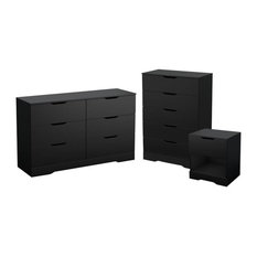 3 Piece Set with Dresser Chest and Nightstand in Pure Black