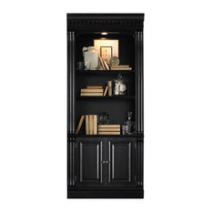 Bowery Hill 3 Shelf Bookcase In Black With Reddish Brown Rub Though