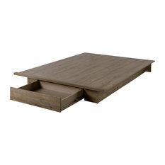 South Shore Furniture - South Shore Holland Full/Queen Platform Bed With Drawer, Weathered Oak - Platform Beds