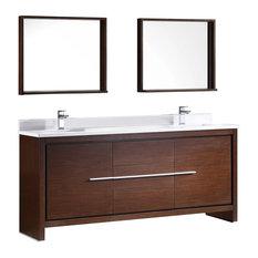 "Allier 72"" Double Sink Bathroom Vanity, Mirror, Sillaro Brushed Nickel Faucet"