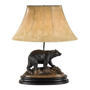 Sculpture Table Lamp Black Bear Hand Painted