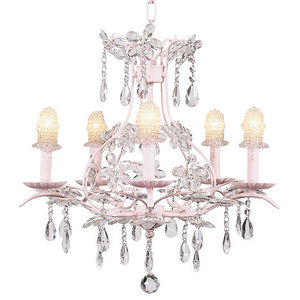 5-Arm Pink Cinderella Chandelier With Bulb Covers