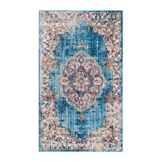 Aimee Transitional Blue and Light Grey Area Rug, 90x150 cm