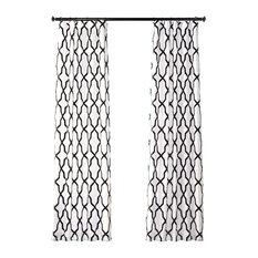 "Pinnacle Flocked FauxSilk Single Panel Curtain, White & Black, 50""x84"""