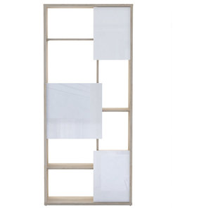 Trend Bookcase, Brushed Oak and White Gloss