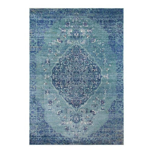 "Medallion Area Rug, Gray, 7'6""x5'3"""