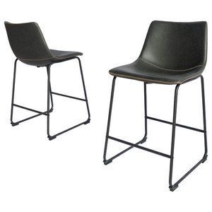 Zane Fabric Counter Stools Set Of 2 Midcentury Bar