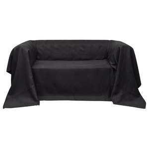 VidaXL Micro-Suede Couch Slipcover, Anthracite, 270x350 cm