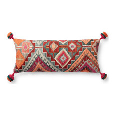 """Multi 13""""x35"""" Plush Woven Elongated Lean Bohemian Pillow Cover With Tassels"""