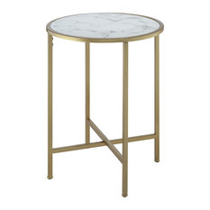Convenience Concepts Gold Coast Round Faux Marble Top End Table