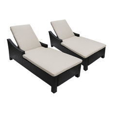 GDF Studio Liberio Outdoor Wicker Chaise Lounges, Multi Brown/Beige, Set of 2
