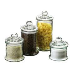 Anchor Hocking Four Piece Round Glass Canister Set Bathroom Canisters