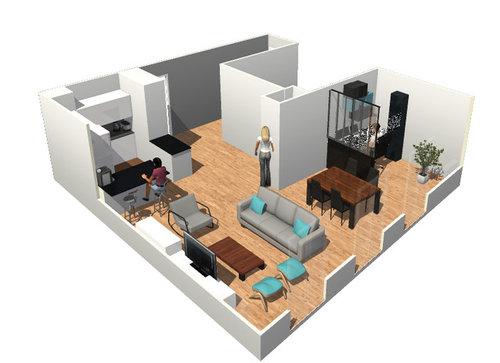 Cr er un bureau dans sejour salon cuisine ouverte - Plan de maison avec cuisine ouverte ...