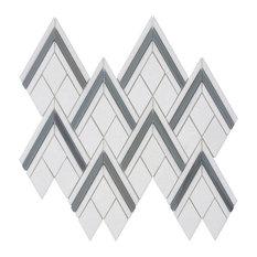 MTO0307 Modern Chevron Gray White Blue Natural Thassos Marble Mosaic Tile