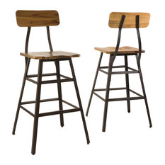 gdfstudio lilinden natural stained laminated acacia bar chairs set of 2 bar stools