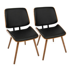 LumiSource Lombardi Dining Chair Walnut With Black PU Leather Set Of 2