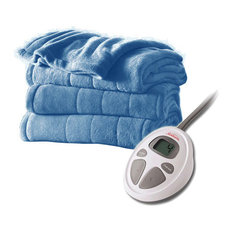Sunbeam Heated Electric Blanket, Channeled Microplush Full, Size Blue