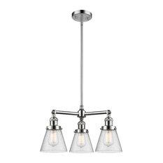 "3-Light Small Cone 19"" Chandelier, Polished Chrome, Glass: Seedy"