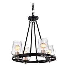 4-Light Black and Brushed Nickel Circular Chandelier With Seeded Glass Shade