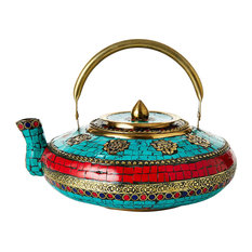 Tea Kettle, Brass and Turquoise
