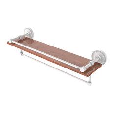 "Prestige Regal 22"" Ironwood Shelf With Gallery Rail & Towel Bar, Matte White"