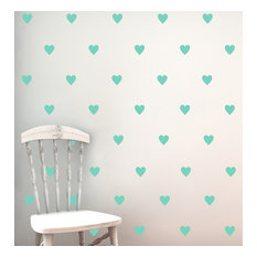 """Hearts Pattern Wall Decal, 2"""", Bubble Gum"""