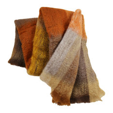 Check Persimmon and Brown Mohair Throw