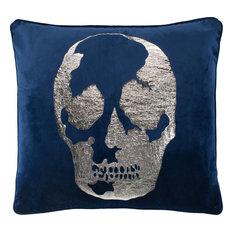Rayen Skull Pillow - Blue, 20x20