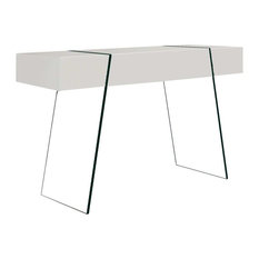 Tau Console Table, High-Gloss White Lacquer