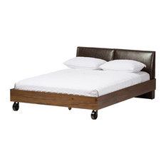 Brooke Walnut and Dark Brown King Size Platform Bed