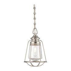 Savoy House Vintage 1 Light In Mini Pendant Satin Nickel With Clear Glass