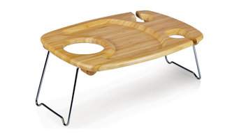 Mesavino Bamboo Wine Table, Natural Wood, 14x12x4