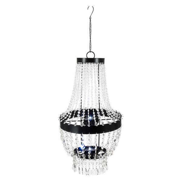 Gerson 19.7 Inch Tall Hanging Metal and Acrylic Solar Garden Meadow® Chandelier