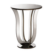 Kylie Hollywood Regency Glamour Mirrored Accent Side Table, Silver Mirrored