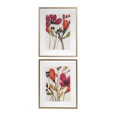 Vivid Arrangement Floral Framed Artwork Prints, 2-Piece Set