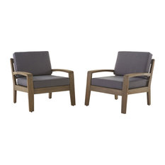 GDFStudio   Giselle Outdoor Acacia Wood Club Chairs With Water Resistant  Cushions, Set Of 2